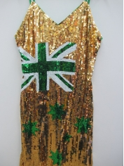 Green And Gold Aussie Flag Sequin Dress